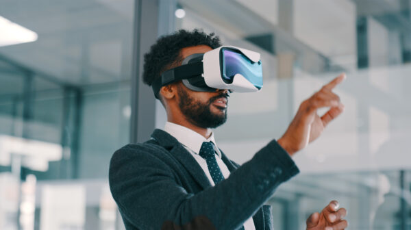 Man using a Virtual reality headset in an office
